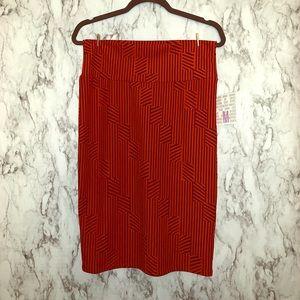 LulaRoe Orange & Brown Pencil Skirt NEW WITH TAGS!